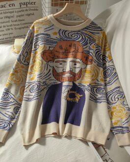 Casual Oil Painting O Neck Long Sleeve Sweater