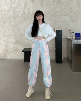 Casual Tie-Dye Loose Trousers high waist Slim Pants