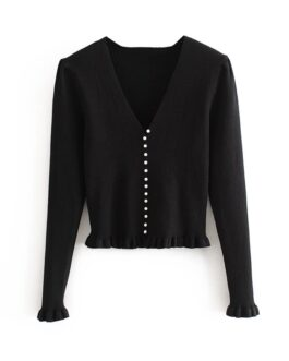 Casual Top Ruffle Buttons Sweater