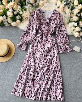Chic Retro Leopard Fashion Casual Street Wear V Neck Flare Sleeve A-line Dresses