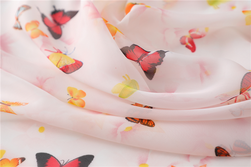 Chiffon Butterfly Print Square Neck Scarf2