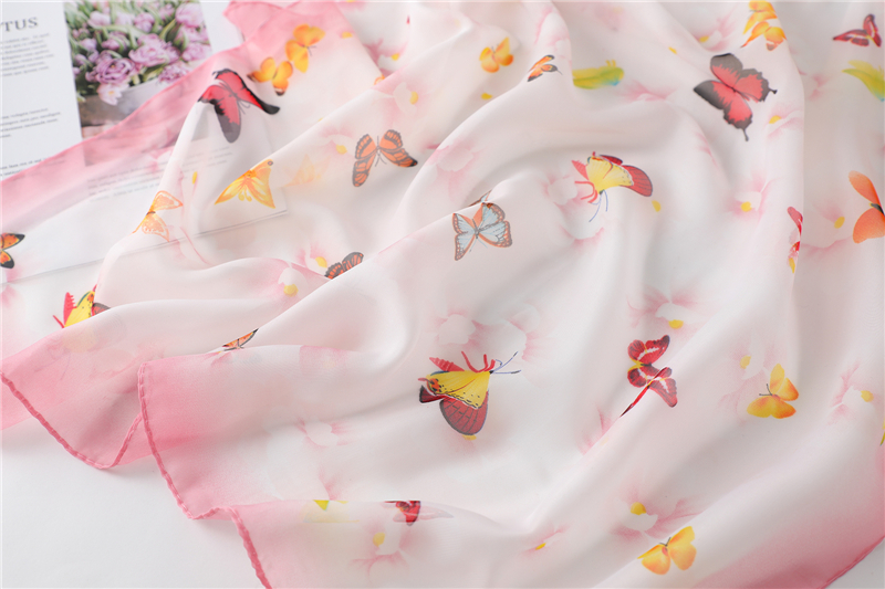 Chiffon Butterfly Print Square Neck Scarf3