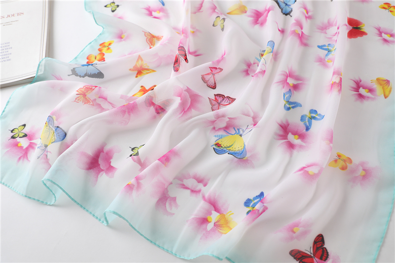 Chiffon Butterfly Print Square Neck Scarf6