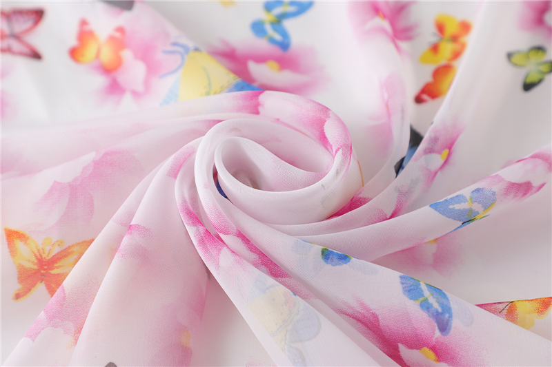 Chiffon Butterfly Print Square Neck Scarf7