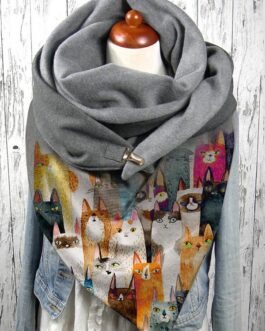 Colorful Cartoon Cute Cats Pattern Soft Personality Neck Protection Keep Warm Scarf