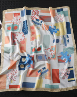 Design Print Lady Square Silk Scarf Shawls