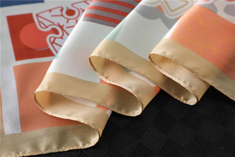 Design Print Lady Square Silk Scarf Shawls3