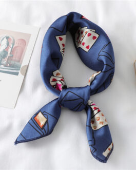 Design Print Silk Hair Small Square Neck Scarf