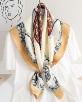 Design Printed Large Square Silk Scarf