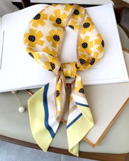 Elegant Floral Print Silk Neck Scarf