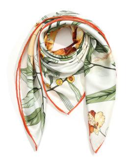 Elegant Floral Print Silk Square Scarves