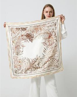 Elegant Leaf Printing Silk Square Scarves