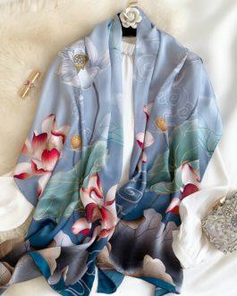 Elegant Lotus Floral Print 100% Silk Scarf