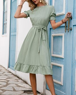 Elegant puff sleeve o-neck dresses