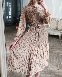 Elegant floral print midi dress