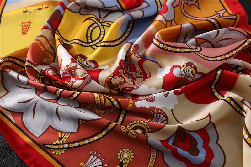 Fashion Design Print Silk Square Scarf2