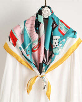 Fashion Design Print Square Silk Neck Scarf