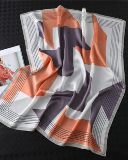 Fashion Geometric Print Silk Square Scarf