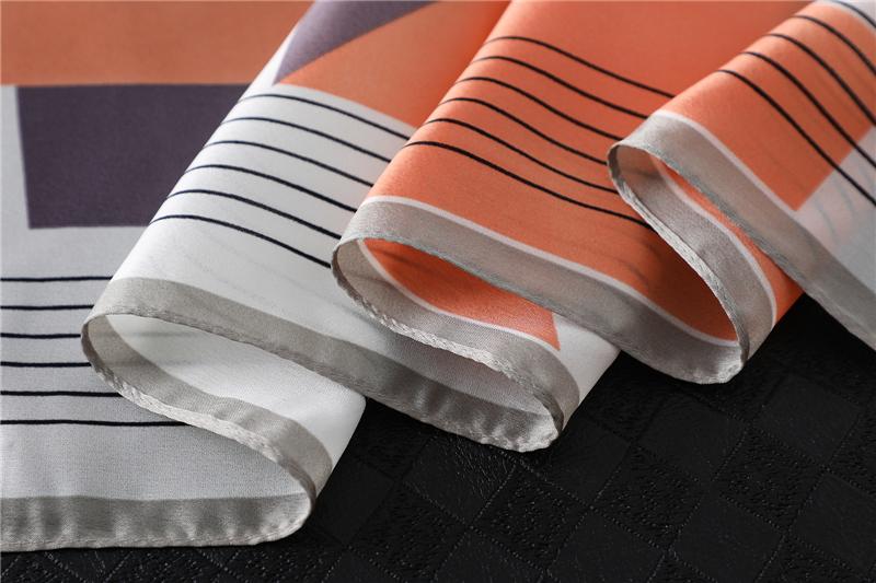 Fashion Geometric Print Silk Square Scarf3