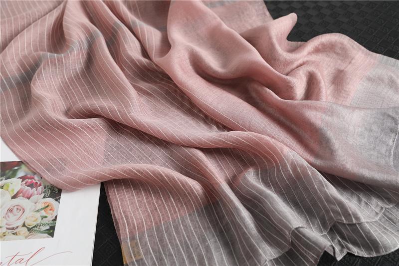 Fashion Luxury Striped Silk Scarf5