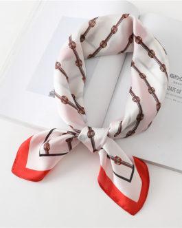 Fashion Square Neck Print Silk Scarf