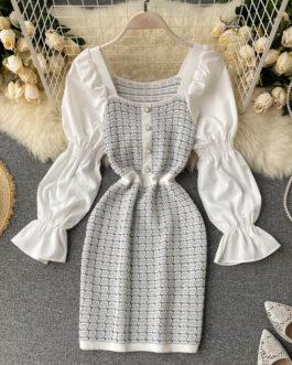 Fashion Street Wear Square Collar Long Sleeve Slim A-line Short Dress