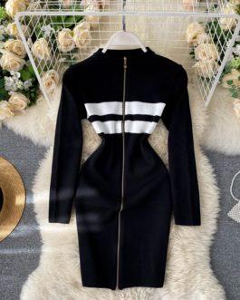 Fashion Striped Elastic Slim Pencil Body Con Dress