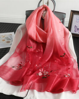 Floral Print Embroidery Silk Wool Scarf