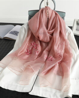 Floral Print Embroidery Silk Wool Soft Scarf