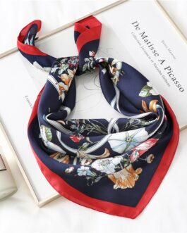 Floral Print Silk Square Neck Scarves
