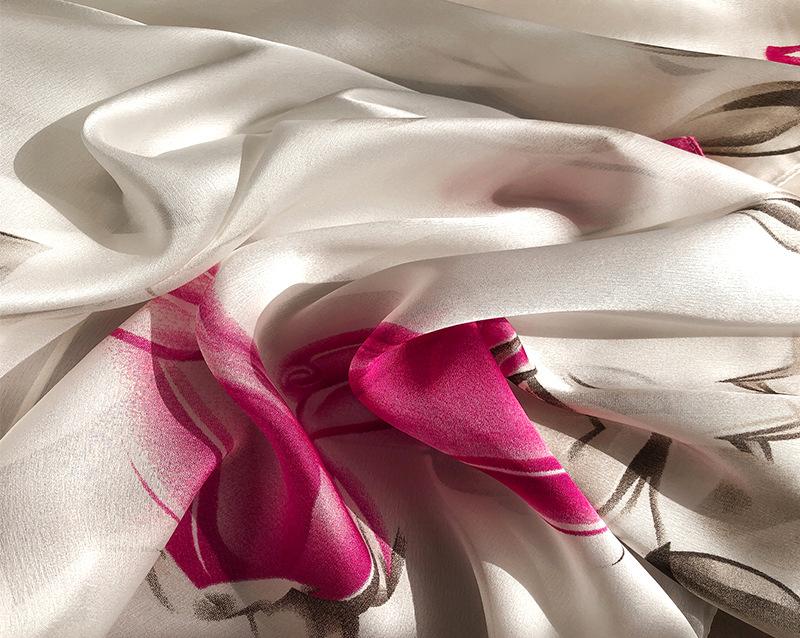 Flower Print Silk Scarves11