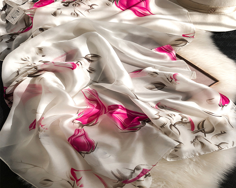 Flower Print Silk Scarves14