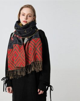 Geometric Print Warm Knit Cashmere Soft Scarf