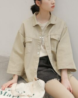 Harajuku Streetwear Solid Turn Down Collar Pockets Coat