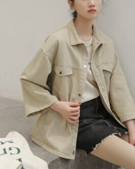 Harajuku Streetwear Solid Turn Down Collar Pockets Coat