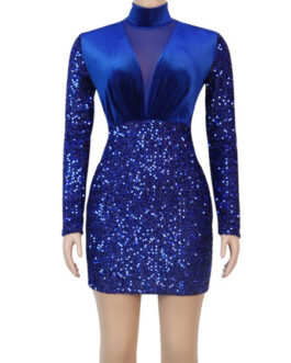 High Collar Sequins Long Sleeves Velour Sexy Bodycon Club Dress