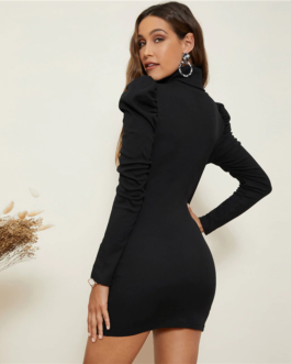 High Neck Gigot Sleeve Rib-Knit Bodycon Dress