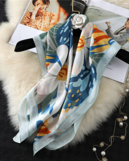 High Quality Floral Print Silk Square Scarf