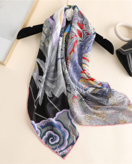 High Quality Silk Cartoon Print Scarf