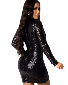 Jewel Neck Sequins Long Sleeves Polyester Sexy Bodycon Dress