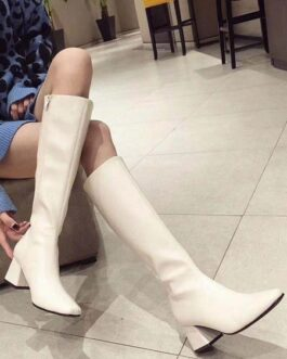 Knee-High Square Toe Chunky Heel PU Leather Medium Shaft Boot