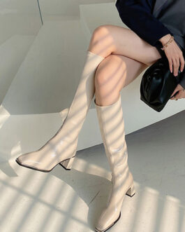 Knee-High Square Toe PU Leather Chunky Heel Boots