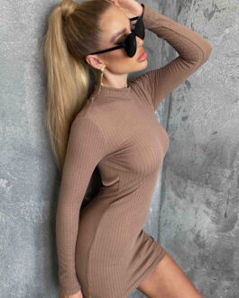 Knitted Jewel Neck Long Sleeves Polyester Backless Sexy Bodycon Midi Dress