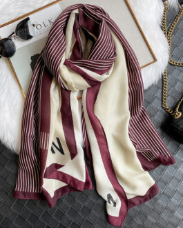 Letter Striped Print Warm Scarf