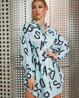Letters Lapels Collar Buttons Long Sleeves Polyester Print Stretch Shirt Midi Dresses