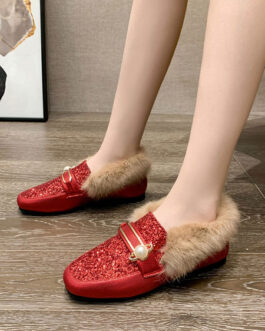 Loafers PU Leather Round Toe Pearls Flat Heel Shoes
