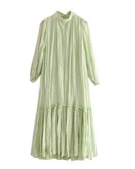 Long Sleeve Loose Pleated Dress