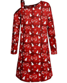 Long Sleeves Christmas Pattern Casual Tunic Dress