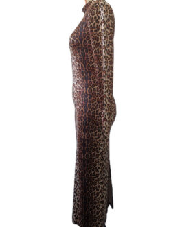 Long Sleeves Leopard Print High Collar Polyester Floor Length Maxi Dresses