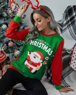Long Sleeves Polyester Christmas Pattern Jewel Neck T Shirt